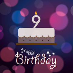 Happy 9th Birthday - Bokeh Vector Background with cake