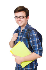 Young student with book on white