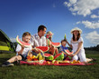 canvas print picture - families picnic outdoors with food