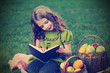 beauty girl  read book outdoors