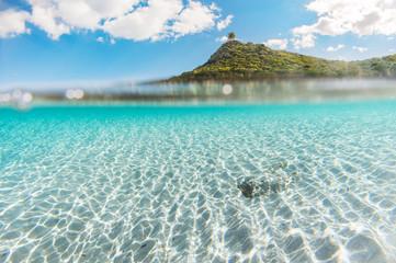 Mediterranean coast overlooking the crystal clear sea