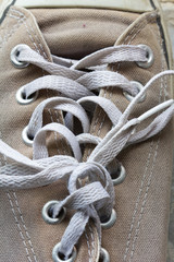 shoelace of canvas shoe