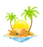 Fototapety Starfish in the sand, vector illustration