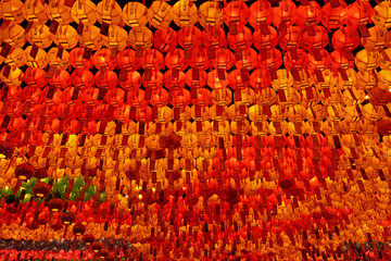 Red, yellow and green glowing lanterns on Buddha's birthday