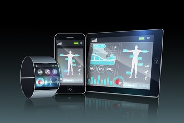 Futuristic wrist watch with tablet and smartphone