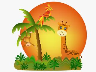 monkey, giraffe and parrot