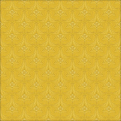 Background wallpaper flowers vector seamless golden.