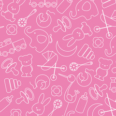 pink background with baby icons