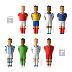 Footballers, soccer players. Brazil 2014, Group E and F.