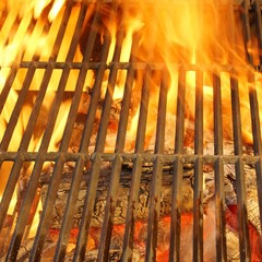 Hot BBQ Grill, Bright Flames and Burning Coals.