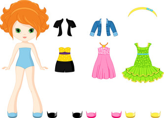 Paper doll with clothing