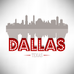 Dallas Texas USA skyline silhouette vector design.
