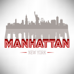 Manhattan USA skyline silhouette vector design.