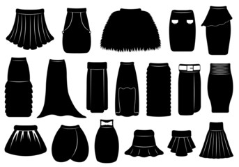 Set of different skirts isolated on white
