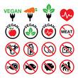 Vegan, no meat, vegetarian, lactose free icons set