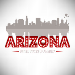 Arizona USA skyline silhouette vector design.