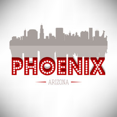 Phoenix Arizona USA skyline silhouette vector design.