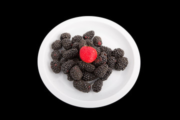 Strawberry on Blackberries on Black
