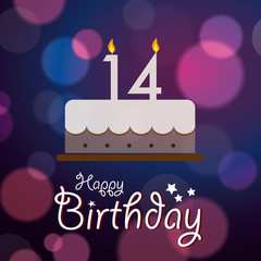 Happy 14th Birthday - Bokeh Vector Background with cake