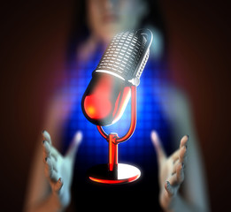 Retro microphone on hologram