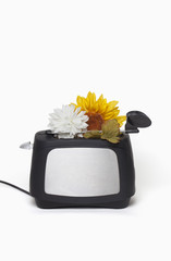 Toaster with flowers