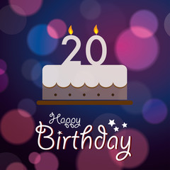 Happy 20th Birthday - Bokeh Vector Background with cake