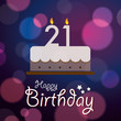 Happy 21th Birthday - Bokeh Vector Background with cake