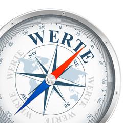 """Kompass mit dem Wort """"WERTE"""""""