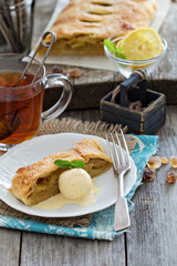 Apple strudel with tea