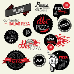 Pizza delivery labels and icons
