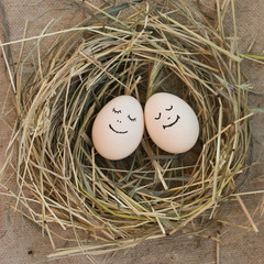 Happy couple in love. Eggs.