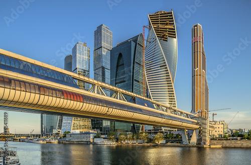 Город Москва. Мост Багратион. Деловой центр Москва-Сити.