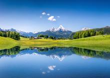 "Постер, картина, фотообои ""Idyllic summer landscape with mountain lake and Alps"""