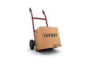 export - scatolone su carrello