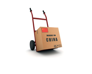 made in china - scatolone su carrello