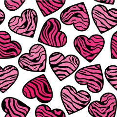 Pink Zebra print hearts seamless background