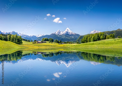 Leinwanddruck Bild Idyllic summer landscape with mountain lake and Alps