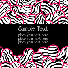 Zebra print hearts seamless background invitation