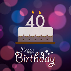 Happy 40th Birthday - Bokeh Vector Background with cake