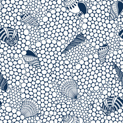 Shells and sand seamless pattern