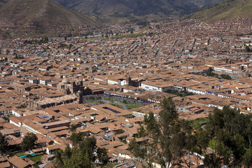 Overeview of the city of Cuzco in Peru