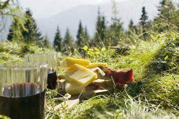 Brot, Käse und Schinken, Gläser mit Rotwein, Picknik auf der Wiese
