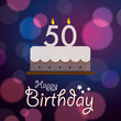 Happy 50th Birthday - Bokeh Vector Background with cake
