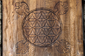 Wooden Flower of Life. symbol of Sacred Geometry