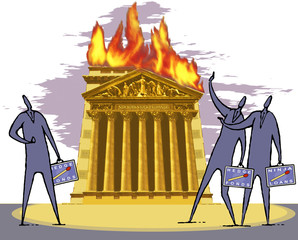 Illustration, New York Stock Exchange Gebäude in Flammen, Börsenmakler beobachtete die Szene