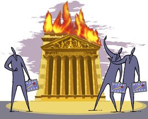 Illustration, New York Stock Exchange Gebäude in Flammen, Börsenmakler beobachtete die Szene