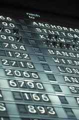 Anzeigetafel bei Frankfurt Flughafen