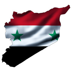 Illustration with waving flag inside map - Syria