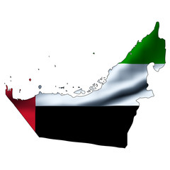 Illustration with waving flag inside map - United Arab Emirates