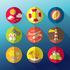 Summer flat icon set